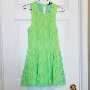 Topshop Neon Green Lace Floral Dress